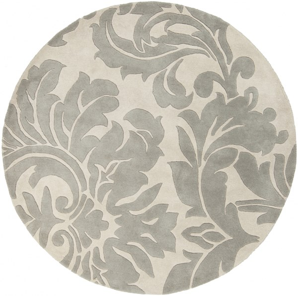Athena Contemporary Beige Gray Wool Round Area Rug (L 72 X W 72) ATH5073-6RD