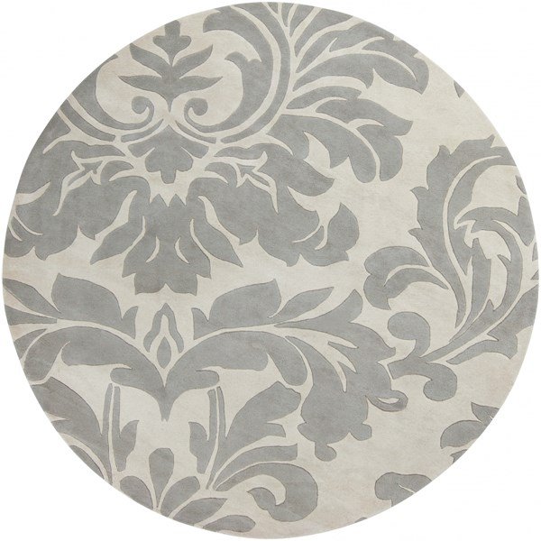 Athena Contemporary Beige Gray Wool Round Area Rug (L 96 X W 96) ATH5073-8RD