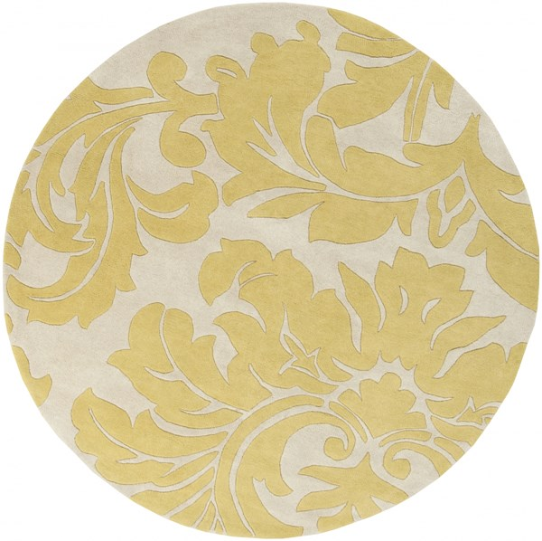 Athena Contemporary Beige Olive Wool Round Area Rug (L 72 X W 72) ATH5075-6RD