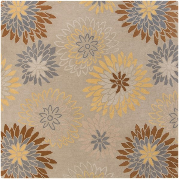 Athena Light Gray Gold Sea Foam Wool Square Area Rug - 96 x 96 ATH5106-8SQ