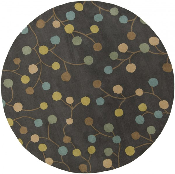 Athena Gray Teal Gold Wool Round Area Rug 96 X 96 The