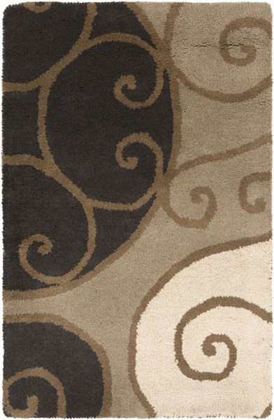 Athena Contemporary Olive Beige Black Wool Area Rugs 1170-VAR1