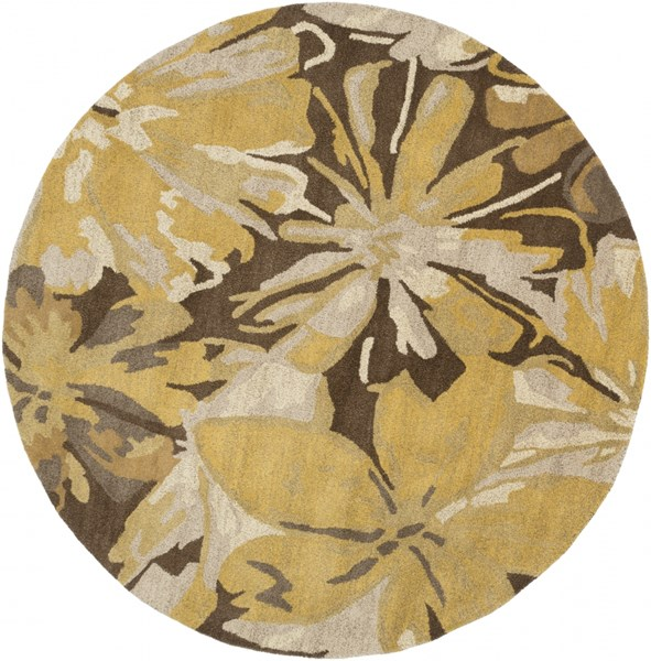 Athena Gold Chocolate Light Gray Taupe Wool Round Area Rug - 72 x 72 ATH5115-6RD