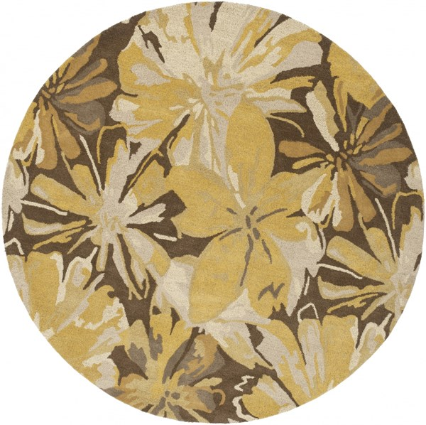 Athena Gold Chocolate Light Gray Taupe Wool Round Area Rug - 96 x 96 ATH5115-8RD