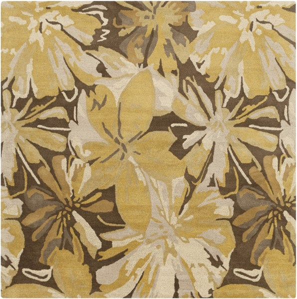Athena Gold Chocolate Light Gray Taupe Wool Square Area Rug - 96 x 96 ATH5115-8SQ