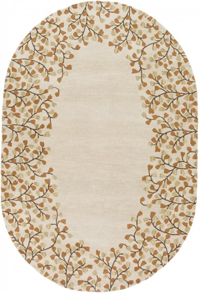 Athena Ivory Chocolate Rust Gold Wool Oval Area Rug - 72 x 108 ATH5118-69OV