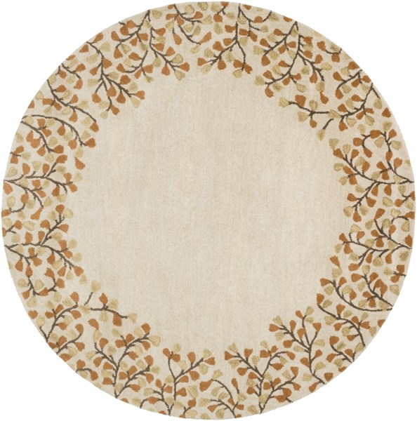 Athena Ivory Chocolate Rust Gold Wool Round Area Rug - 72 x 72 ATH5118-6RD