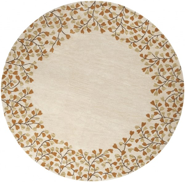 Athena Ivory Chocolate Rust Gold Wool Round Area Rug - 96 x 96 ATH5118-8RD