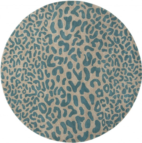 Athena Olive Teal Wool Round Area Rug - 96 x 96 ATH5120-8RD