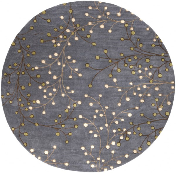 Athena Charcoal Taupe Beige Moss Wool Round Area Rug - 96 x 96 ATH5125-8RD