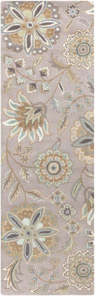 Athena Sky Blue Gold Moss Olive Taupe Wool Runner - 30 x 96 ATH5127-268