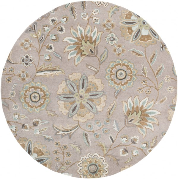 Athena Sky Blue Gold Moss Olive Taupe Wool Round Area Rug - 72 x 72 ATH5127-6RD