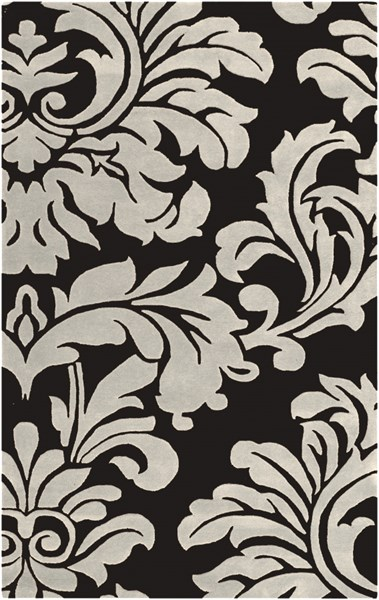 Athena Contemporary Black Ivory Wool Area Rug (L 96 X W 60) ATH5131-58