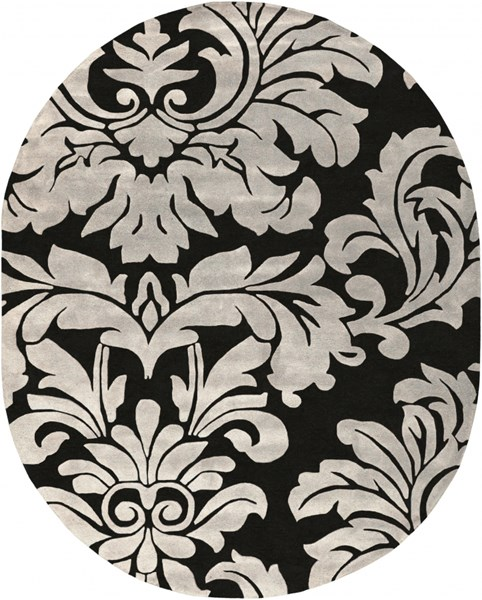 Athena Contemporary Black Ivory Wool Oval Area Rug (L 120 X W 96) ATH5131-810OV