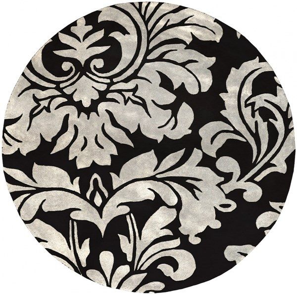 Athena Contemporary Black Ivory Wool Round Area Rug (L 96 X W 96) ATH5131-8RD