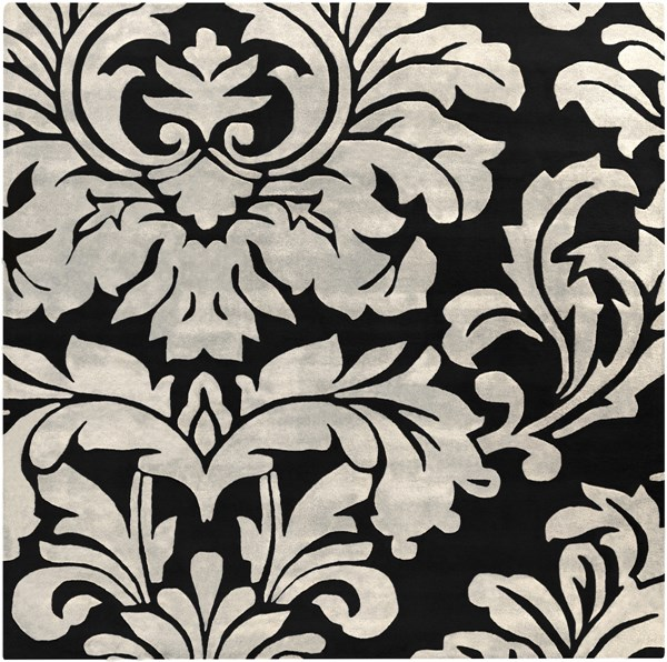 Athena Contemporary Black Ivory Wool Square Area Rug (l 96 X W 96) ATH5131-8SQ