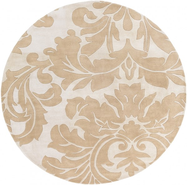 Athena Contemporary Taupe Light Gray Wool Round Area Rug (L 96 X W 96) ATH5133-8RD