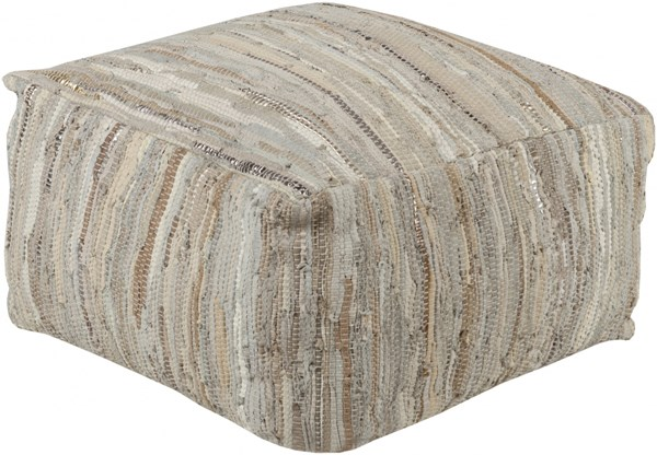Anthracite Modern Ivory Beige Gray Leather Poufs 14081-VAR1