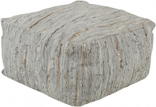 Anthracite Modern Moss Gray Gold Leather Pouf ATPF-002