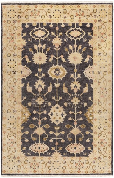 Antique Traditional Black Olive Rust Wool Area Rug (L 102 X W 66) ATQ1007-5686