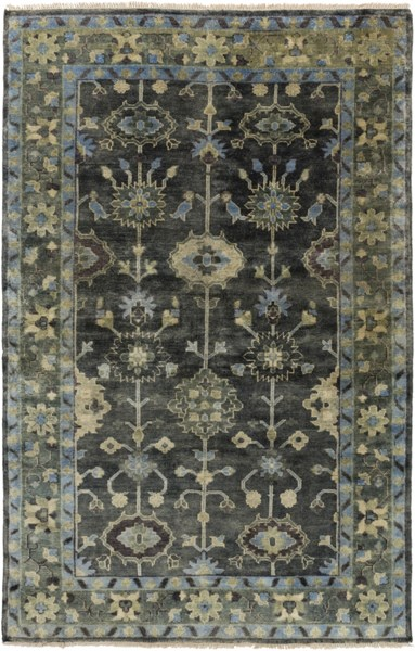 Antique Traditional Charcoal Moss Gray Wool Area Rug (L 102 X W 66) ATQ1008-5686