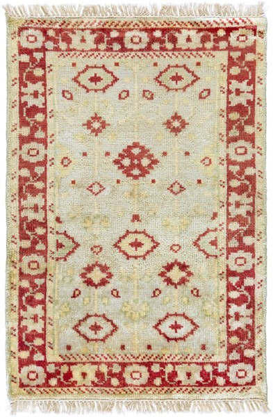 Antique Traditional Beige Gold Olive Wool Area Rug (L 36 X W 24) ATQ1009-23