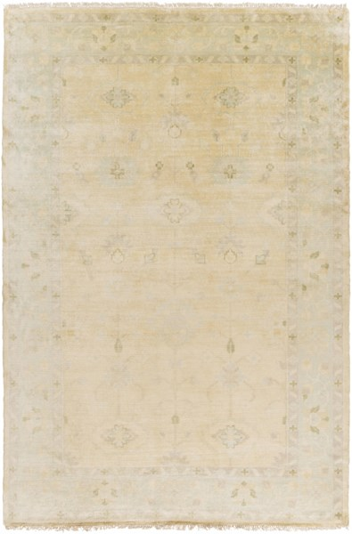 Antique Traditional Beige Olive Ivory Wool Area Rug (L 102 X W 66) ATQ1011-5686