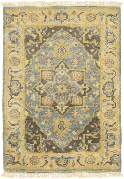 Antique Traditional Olive Charcoal Gray Wool Area Rug (L 36 X W 24) ATQ1012-23