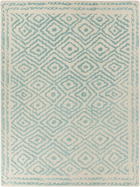 Atlas Traditional Teal Beige Wool Rectangle Area Rug ATS1004-811
