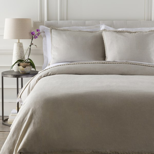 Surya Audrey Light Gray Silver Full Queen Duvet Set AUD4000-FQSET