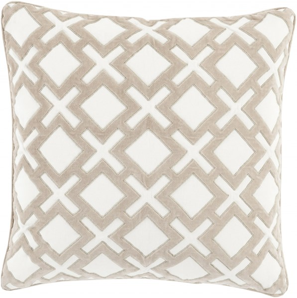 Alexandria Ivory Gray Poly Cotton Velvet Throw Pillow (L 20 X W 20) AX002-2020P