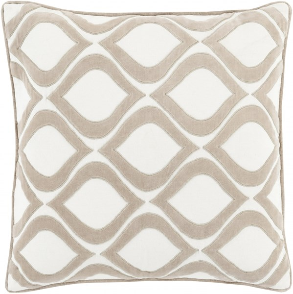 Alexandria Gray Ivory Poly Cotton Velvet Throw Pillow  (L 22 X W 22) AX007-2222P