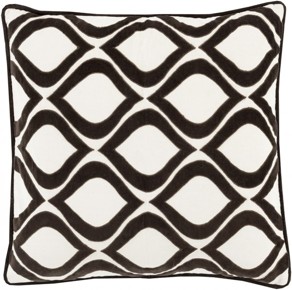 Alexandria Black Ivory Poly Cotton Velvet Throw Pillow (L 22 X W 22) AX008-2222P