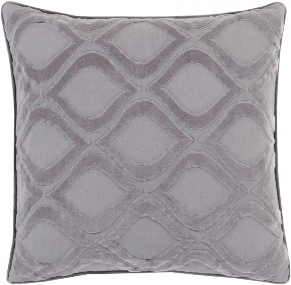 Alexandria Gray Charcoal Poly Cotton Velvet Throw Pillow (L 22 X W 22) AX010-2222P