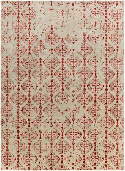 Surya Banshee Bright Red Beige Wool Viscose Area Rug - 132x96 BAN3316-811