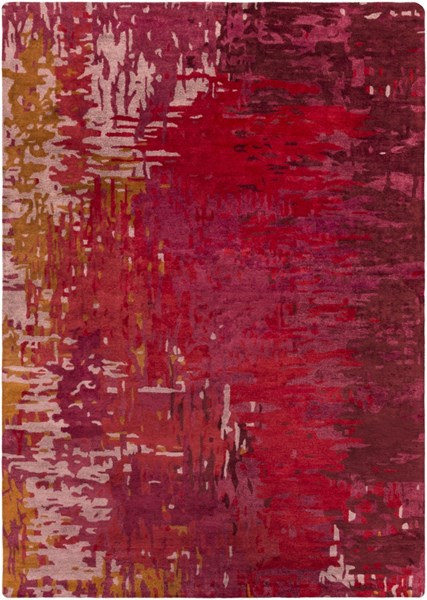Surya Banshee Bright Red Pink Wool Viscose Area Rug - 132x96 BAN3347-811