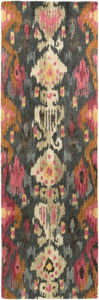 Banshee Pink Burnt Orange Gray Cherry Wool Viscose Runner - 30 x 96 BAN3354-268