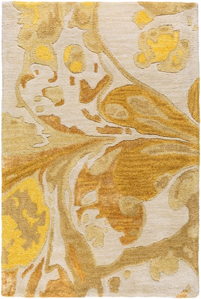 Banshee Gold Lemon Ivory Beige Wool Viscose Area Rug - 24 x 36 BAN3360-23