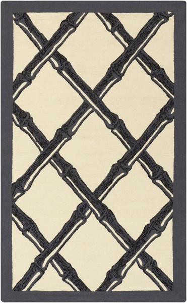 Bondi Beach Charcoal Black Ivory Polypropylene Area Rug - 60 x 90 BBC2012-576
