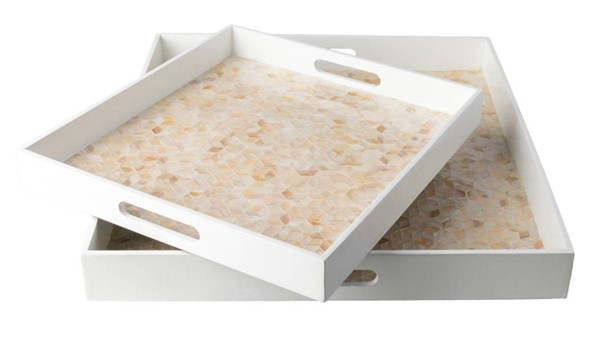 Surya Beverly White Fiberboard Mother of Pearl 2pc Tray Set BEE002-SET