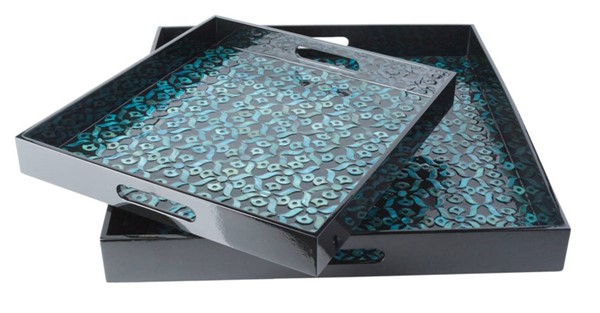 Surya Beverly Black Fiberboard Mother of Pearl 2pc Tray Set BEE003-SET