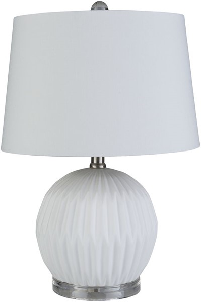 Surya Brennon White Ceramic Acrylic Table Lamp - 13x19 BEN-003