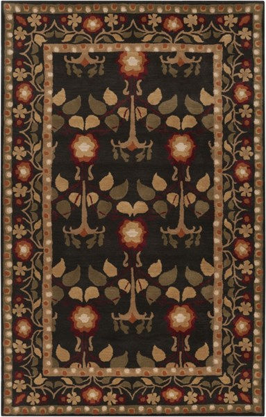 Bungalow Traditional Black Gold Burgundy Fabric Area Rugs 606-VAR1