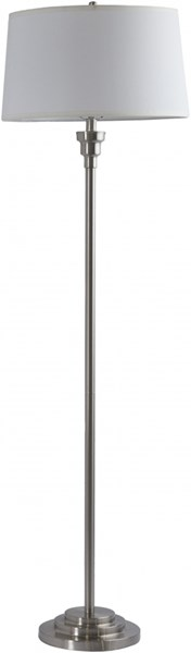 Bingham Brushed Nickel Ivory Metal Linen Floor Lamp - 18x61 BNLP-001