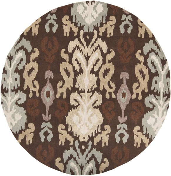 Brentwood Gold Beige Mauve Polyester Round Area Rug - 72 x 72 BNT7673-6RD