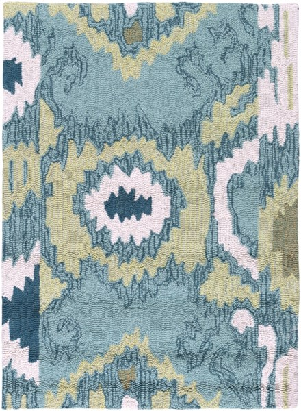 Brentwood Ivory Olive Teal Polyester Area Rug - 24 x 33 BNT7678-229