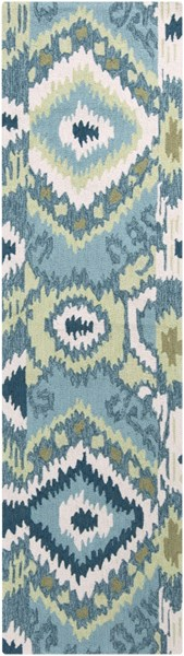 Brentwood Ivory Olive Teal Polyester Runner - 27 x 96 BNT7678-238