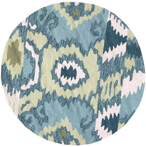 Brentwood Ivory Olive Teal Polyester Round Area Rug - 36 x 36 BNT7678-3RD