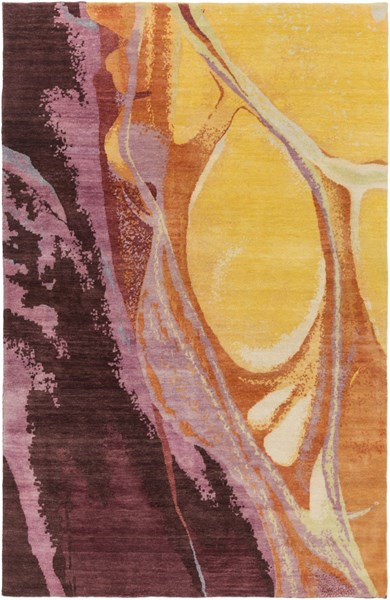 Brought To Light Gold Burgundy Rust Wool Area Rug - 72 x 108 BOL4002-69