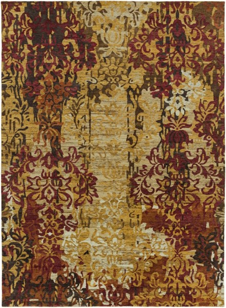 Brocade Beige Gold Burgundy New Zealand Wool Area Rug - 96 x 132 BRC1002-811